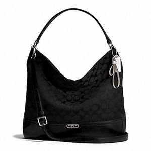 COACH PARK SIGNATURE HOBO Black/Silver Handbag